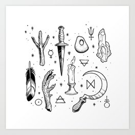 Accoutrements - white Art Print