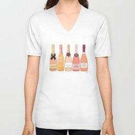Rose Champagne Bottles Unisex V-Neck
