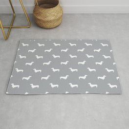 Dachshund pattern minimal grey and white dog lover home decor gifts accessories silhouette Rug