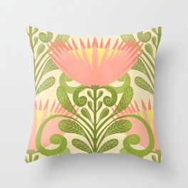 King Protea Flower Pattern - yellow Throw Pillow