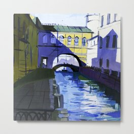 Etude drawing of the ancient architecture of the river canals of the city. Metal Print