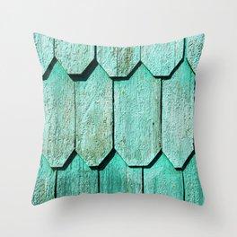 Green Shingle Throw Pillow