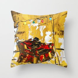 SoapsAndRoses: Red chair in a garden Throw Pillow