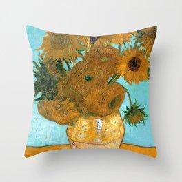 Vincent van Gogh - Still Life Vase with Twelve Sunflowers Throw Pillow