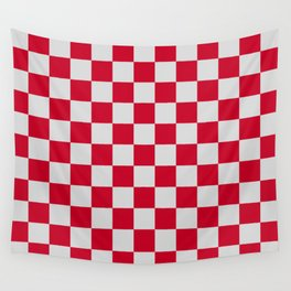 Red and Light Grey Check Wall Tapestry