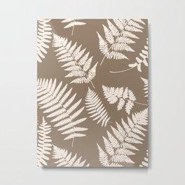 Woodland Fern Pattern, Taupe Tan and Cream Metal Print