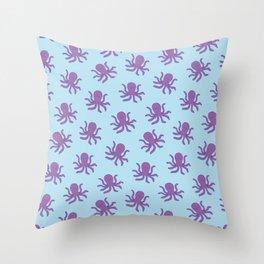 Friendly Octopus // Blue Pattern Throw Pillow