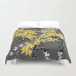 TREE BRANCHES YELLOW GRAY  AND BLACK LEAVES AND BERRIES Duvet Cover