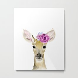 Fawn with flowers Metal Print