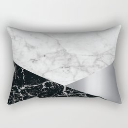 Geometric White Marble - Black Granite & Silver #230 Rectangular Pillow