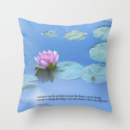 Serenity Prayer Pink Water Lily Throw Pillow