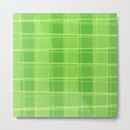 Delicate strokes of intersecting green cells with jagged stripes and lines. Metal Print