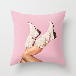 These Boots - Glitter Pink Throw Pillow