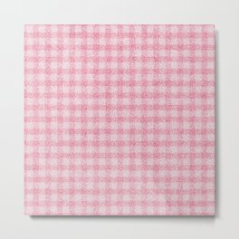 Nappy Faux Velvet Gingham in Pink on Pink Metal Print