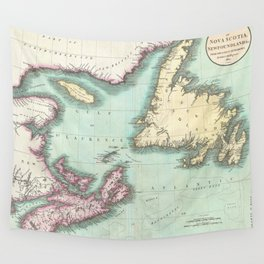 Vintage Map of Nova Scotia and Newfoundland (1807) Wall Tapestry