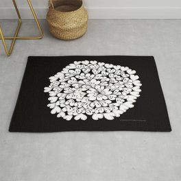 Hearts and Flowers Zentangle black and white illustration Rug
