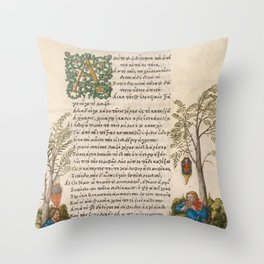 Albrecht Dürer - A Pastoral Landscape with Shepherds Playing a Viola and Panpipes Throw Pillow