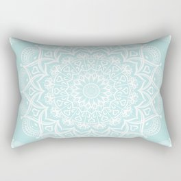 Mint Aqua Boho Mandala Rectangular Pillow