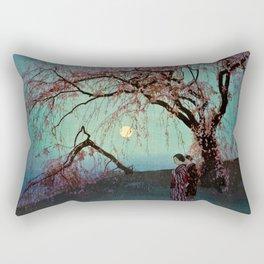 Hiroshi Yoshida - Kumoi Cherry Trees - Japanese Vintage Ukiyo-e Woodblock Painting Rectangular Pillow