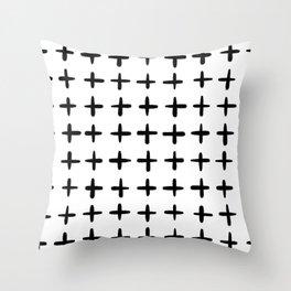 Black and white plus sign Throw Pillow