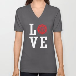 fire dept love Unisex V-Neck