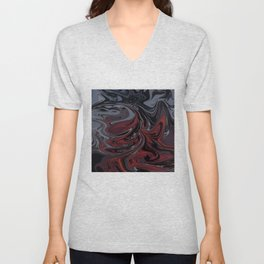Grey & Red Abstract Painting Unisex V-Neck