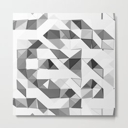 Triangular Deconstructionism Light Mono Metal Print