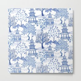 Pagoda Forest Blue and White Metal Print
