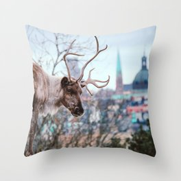 Reindeer on the hill, Stockholm Throw Pillow