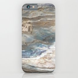 Pearly Blue Swirl Marble iPhone Case