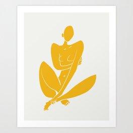 Sitting nude in yellow Art Print