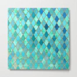 Aqua Teal Mint and Gold Oriental Moroccan Tile pattern Metal Print
