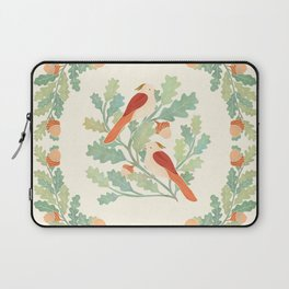 Art Nouveau Illustration / Square / Birds on Oak Tree / Red Feathered Birds Laptop Sleeve
