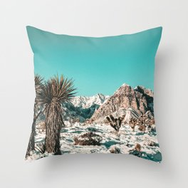 Vintage Lovers Cacti // Red Rock Canyon Mojave Nature Plants and Snow Desert in the Winter Throw Pillow