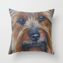 SILKY TERRIER dog art portrait from an original painting by L.A.Shepard Throw Pillow