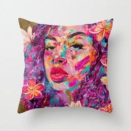 PURPLE PLUMERIA Throw Pillow
