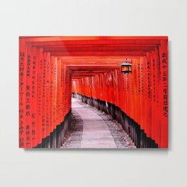 Through the Gates (Kyoto, Japan) Metal Print