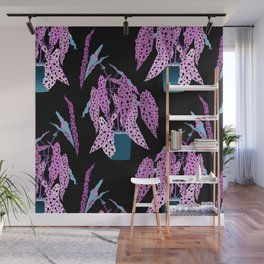 Simple Potted Polka Dot Begonia Plants in Black + Magenta Wall Mural