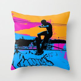 On Edge - Skateboarder Throw Pillow