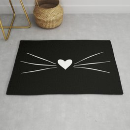 Cat Heart Nose & Whiskers White on Black Rug