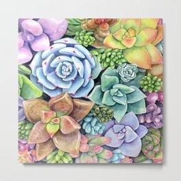 Watercolor Succulent Garden #49 Metal Print