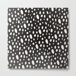 Bohemian Pebbles - Dark gray and cream dot pattern Metal Print
