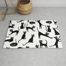 Black cats, seamless patten Rug