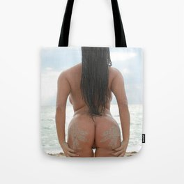 9527-SS Naked Woman Nude Beach Ocean Surf Sandy Handprints on Bare Ass Tote Bag