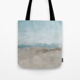 Ocean Horizon Sandy Sunny Beach Day Clear Blue Skies Abstract Nature Painting Art Print Wall Decor  Tote Bag