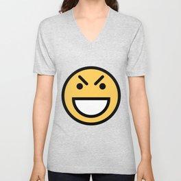 Smiley Face   Big Grinning Eyebrow Raised Face Unisex V-Neck