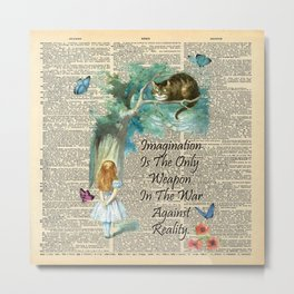 Alice In Wonderland Quote - Imagination - Dictionary Page Metal Print