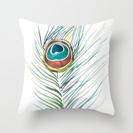 Peacock Tail Feather – Watercolor Throw Pillow