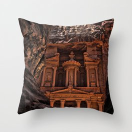 Petra Al Khazneh Treasury Temple Ruins Entryway Faraheed Photograph Throw Pillow