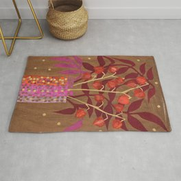 Chinese Lanterns, Physalis, Paper Collage Papercut Autumn Flowers Abstract Floral Rug